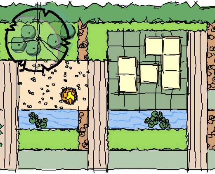 Bambushecken, formales Wasserspiel mit quadratischen Quellsteinen - Gartengestaltung Zinsser