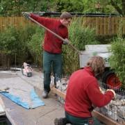 Gabionen werden mit großen Steinen gefüllt, später erfolgt die Abdeckung mit einer Holzrollschicht.
