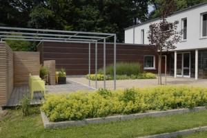 Architektenhaus, Kiesflächen, moderner Garten