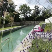 langes schmales Wasserbecken als Schwimming Pool oder Naturpool
