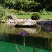 Ein Quellstein in der Flachwasserzone ist ideal zum Spieln für kleinere Kinder