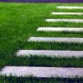 gradliniger Weg mit großformatigen Trittplatten